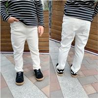 กางเกงยีนส์เด็กขายาว-พื้นเรียบ-สีขาว