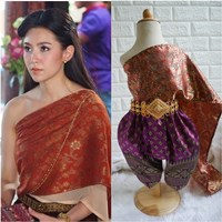 ชุดไทยการะเกดโจง-สไบผ้าไหมอินเดีย-โทนสีแดงม่วง