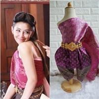 ชุดไทยการะเกดโจง-สไบผ้าไหมอินเดีย-โทนสีม่วง