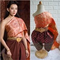 ชุดไทยการะเกดโจง-สไบผ้าไหมอินเดีย-โทนสีส้มแดง
