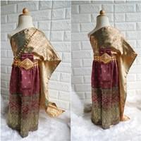 ชุดไทย-ผ้าถุงการะเกด-สไบผ้าไหมอินเดีย-สีแดงทอง