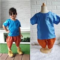 ชุดไทยเด็กเสื้อพื้นไหมญี่ปุ่น_โจงลายไทย-สีน้ำเงิน
