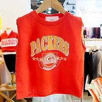 เสื้อยืดเด็กแขนเต่อ-PACKERS-สีแดงอมส้ม