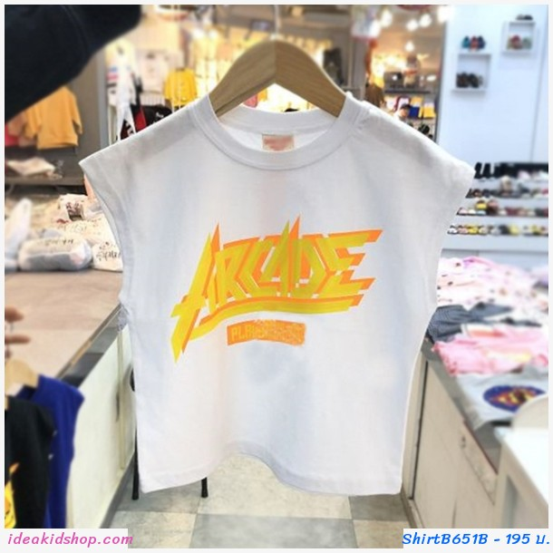 เสื้อยืดเด็กแขนเต่อ ARCADE สีขาว