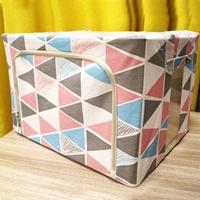 กล่องผ้าโครงเหล็ก-storage-basket-ลายสามเหลี่ยม