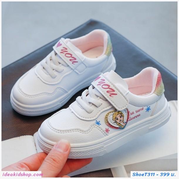 รองเท้าผ้าใบแฟชั่นแต่งกากเพชร Frozen Elsa สีขาว