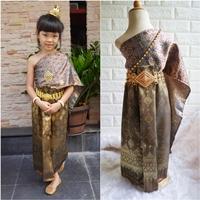ชุดไทย-ผ้าถุงการะเกด-สไบผ้าไหมอินเดีย-สีน้ำตาล
