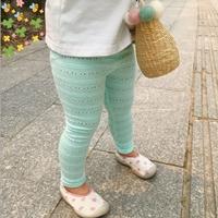 กางเกงเลกกิ้งฉลุลายลูกไม้-สีเขียวมิ้นท์