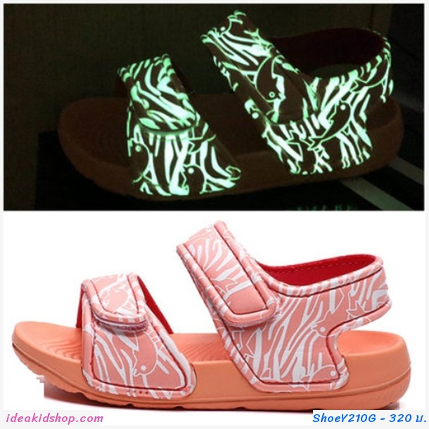 รองเท้ารัดส้น soft beach เรืองแสง สีชมพู
