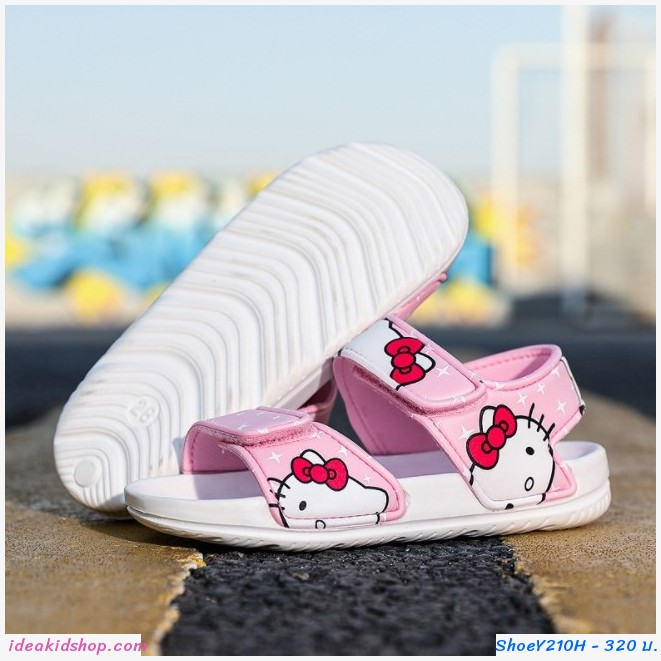 รองเท้ารัดส้น soft beach ลาย Kitty สีชมพูอ่อน H