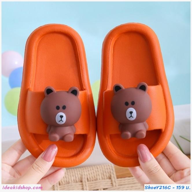 รองเท้าแตะ Children slippers แก๊งค์ไลน์ ลาย Brown