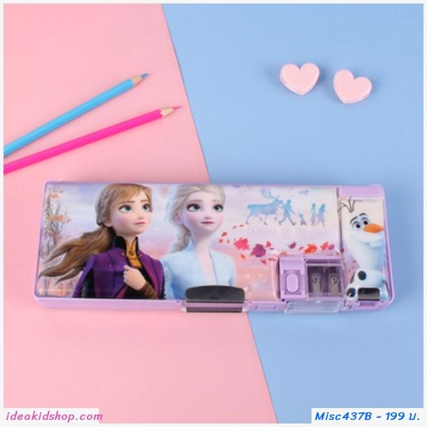 กล่องดินสอ 2 ด้าน ลาย Frozen สีม่วง