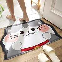 พรมเช็ดเท้า-Non-Slip-Bathroom-Mat-ลายแมวเทา