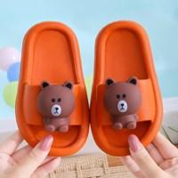 พรีออเดอร์-รองเท้าแตะ-Children-slippers-แก๊งค์ไลน์-ลาย-Brown