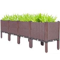 กระบะปลูกผัก-Balcony-box-แบบลึก-30-ซม.(4-ช่อง-มีขา13ซม.)