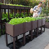 กระบะปลูกผัก-Balcony-box-แบบลึก-30-ซม.(5-ช่อง-ขา-26-cm-พร้อมฐาน)