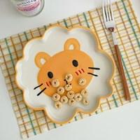 จานเซรามิก-Cute-animal-ใส่ผลไม้-ขนมปัง-ของใช้-ลายสิงโต