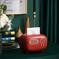 กล่องใส่กระดาษทิชชู่-Radio-Retro-Tissue-Box-สีน้ำตาลแดง