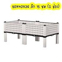 กระบะปลูกผัก-Balcony-vegetable-box-สีขาว(2-ช่องมีขา-13-ซม.)