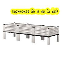 กระบะปลูกผัก-Balcony-vegetable-box-สีขาว(3-ช่องมีขา-13-ซม.)