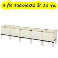 กระบะปลูกผัก-Balcony-box-แบบลึก-30-ซม.(5-ช่อง-มีขา13ซม.)