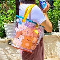 กระเป๋าถือการ์ตูนฟรุ้งฟริ้ง-แบบใส-ลายหมีน้ำตาล