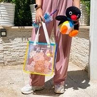 กระเป๋าถือการ์ตูนฟรุ้งฟริ้ง-แบบขุ่น-ลายหมีน้ำตาล