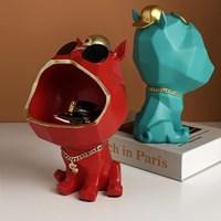 น้องหมาใส่แว่นอ้าปาก-เก็บของ-Nordic-Luxury-สีแดง