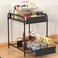 Pre-เปิดจอง-ชั้นวาง-Kitchen-Sink-Shelf-บนเคาเตอร์-ใต้เคาเตอร์-ขนาดใหญ่-สีดำ-