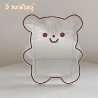 กล่องใส่ปากกา-ดอกไม้แจกัน-Acrylic-Kuma-หมีคุมะ-สีใส-ไซส์-M