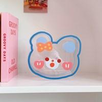 กล่องใส่ปากกา-ดอกไม้แจกัน-Acrylic-แบบCute-Bear-D