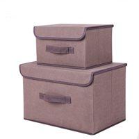 กล่องผ้าเก็บของอเนกประสงค์-สีน้ำตาล(ได้2ชิ้น)