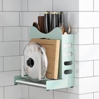 กล่องจัดระเบียบ-มี-ตะเกียบ-เขียง-Kitchen-Rack-MultiFunction-สีเขียว