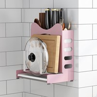 กล่องจัดระเบียบ-มี-ตะเกียบ-เขียง-Kitchen-Rack-MultiFunction-สีชมพู