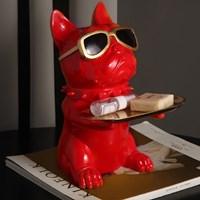 ที่วางของ-ตกแต่งบ้าน-หมา-Bulldog-ใส่แว่น-สีแดง