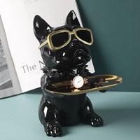 ที่วางของ-ตกแต่งบ้าน-หมา-Bulldog-ใส่แว่น-สีดำ