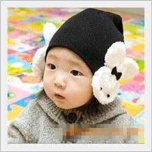 หมวกสีดำ-มีที่ปิดหูลายกระต่ายน่ารัก