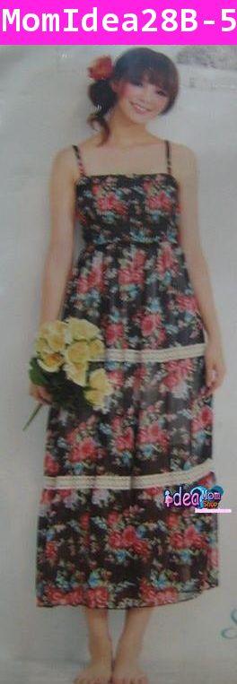 ชุดเดรส สไตล์ Maxi Dress ลายดอกไม้สีดำ