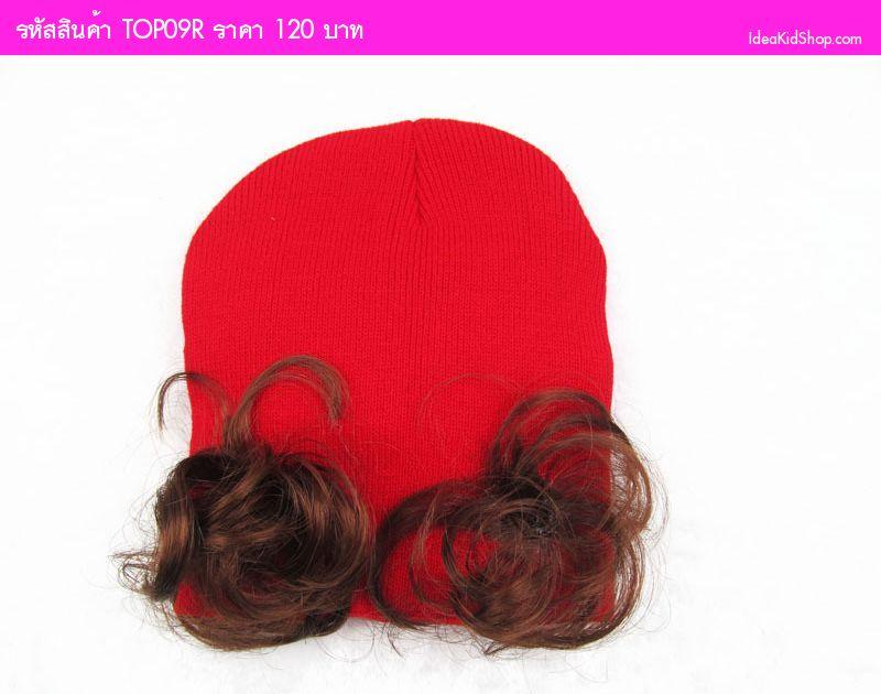 หมวกกระต่ายน้อยโบว์จุดพร้อม ปอยผม สีแดง